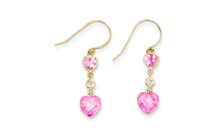 IceCarats Designer Jewelry 14k Madi K Pink CZ Double Heart Dangle Earrings