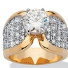 4.65 TCW Cubic Zirconia Pave 14k Gold-Plated Ring