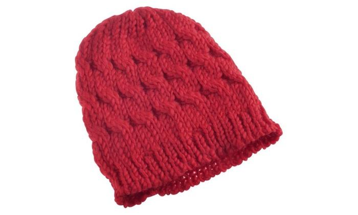 91e0ee2d4de ... Zodaca Red Lady Women Knit Winter Warm Crochet Hat Braided Beanie Cap  ...