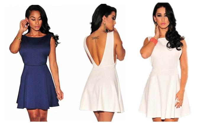 Textured Open Sides Mini Skater Dress