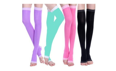 Overnight Thigh High Leg Slimming Compression Socks With Open Toe