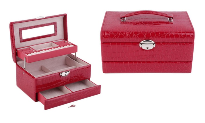 Jewelry Box Case Storage Organizer Ring Earring Necklace Mirror