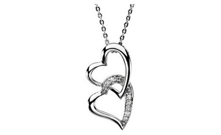 IceCarats Designer Jewelry Sterling Silver Sisters By Heart Pendant Chain 25.23X12.97 Mm