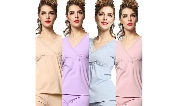5b8ff4d61f4 Women's Long Sleeve Easy Breastfeeding Top Pants Maternity Nursing Pajama  Set