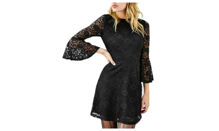 CitySky: Women's Casual Step Skirt Short Skirt Thin Lace Casual Dress
