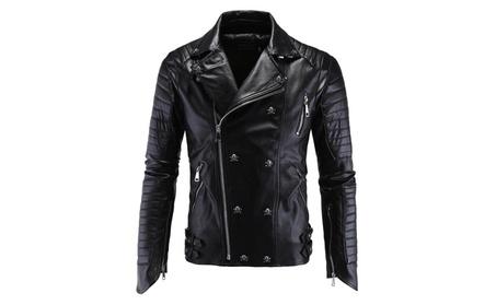 Embossed Faux Leather Jacket Men Motorcycle Biker Skull Button Coat 04235746-679d-407a-9fb4-c04b5eb90c4a