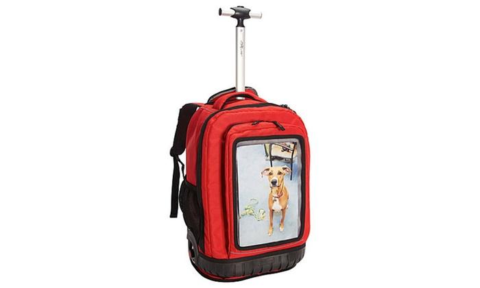 Travelers Club Luggage 18″ Selfie Rolling Backpack/Personalized Pocket