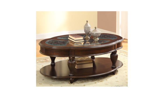 Agnes Dark Cherry Glass Insert Oval Coffee Table Groupon