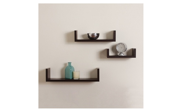 Premium Walnut Brown Set Of Three U Shaped Floating Wall Shelves