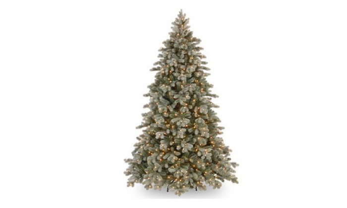 Poly Frosted Colorado Spruce Hinged Artificial Christmas Tree | Groupon