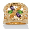 Marquise-Cut Multicolor Crystal 14k Yellow Gold-Plated Openwork Ring