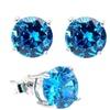 .925 Sterling Silver 2 Carat Round Blue Cubic Zirconia Stud Earrings