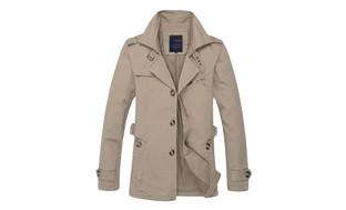 Men's Big & Tall Lapel Slim Fit Trench Coat Outwear Jacket