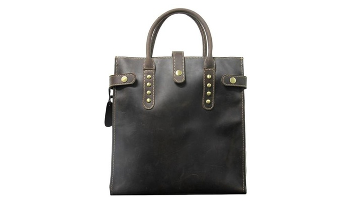 Crazy Horse Leather Business Handbag Briefcase – Coffee / One Size