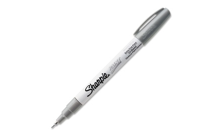 Sharpie Oil-Based Paint Marker, Extra Fine Point, Silver Ink, 12 pack, 35533