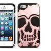 Insten Skullcap Hybrid Silicone Case For iPhone 5 5S Rose Gold BLK