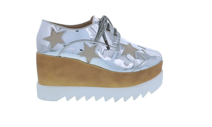 Funky Star Lace Up Vegan Leather Women's Platform Oxford Wedge