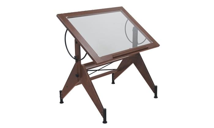 Studio Design Aries Glass Top Adjustable Drafting Table Sonoma Brown