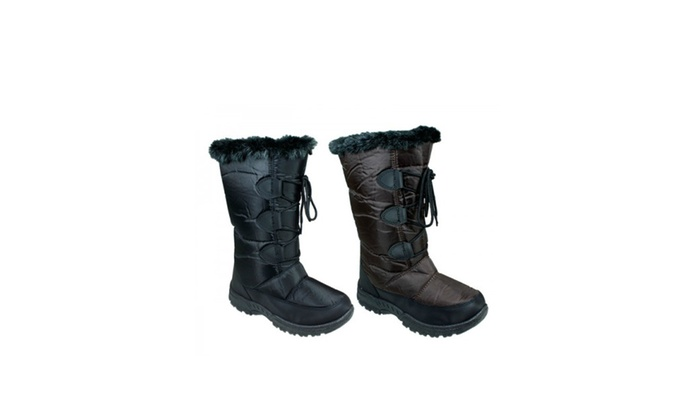 Women's Classic Winter Lace Boots with Faux Fur Lined Shearling