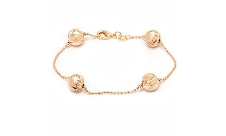18K Gold Plated Gold Engraved Ball Link Bracelet ea9df493-acdc-4aec-b779-b70f6cbb1807
