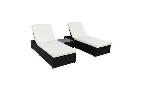 Wicker Chaise Lounge Set Outdoor PE Patio Rattan