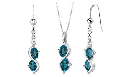 London Blue Topaz Pendant Earrings Set Sterling Silver Oval SS3398