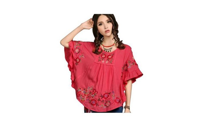 Batwing Floral Embroidered Loosen Peasant Butterfly Mexican Blouse - Coral