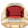 Men's 5.61 TCW Lab Created Red Ruby and Diamond 18k Gold-Plated Ring
