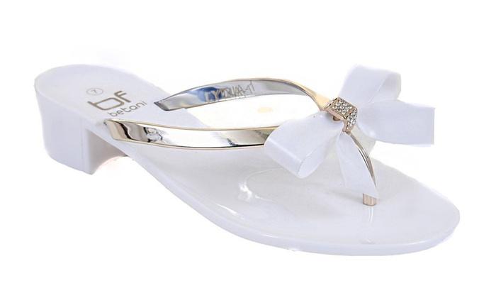 White Jewels Bow Wedding Flat Flip-flop Thong Sandal Slipper