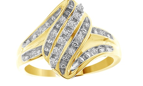 1/10 cttw Round Real Diamond Ladies Engagement Ring Solid 10K Yellow Gold