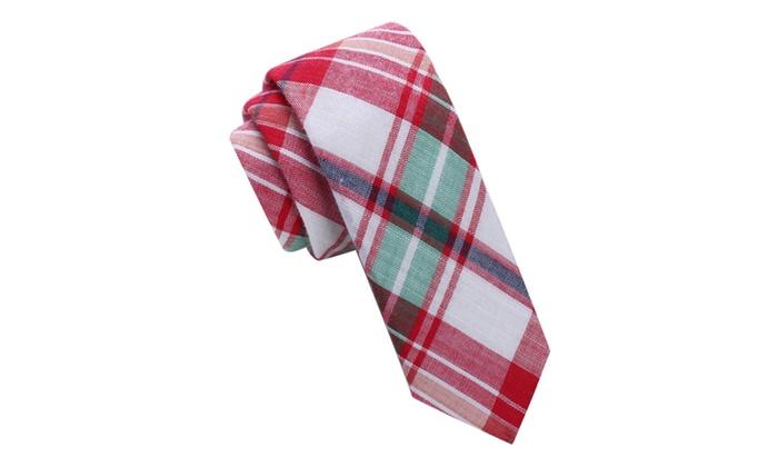 Madras Style Plaid Skinny Tie