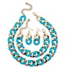 3 Piece Curb-Link Set Aqua Enamel Yellow Gold Tone