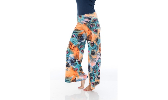 Orange Teal  Printed Palazzo Pants