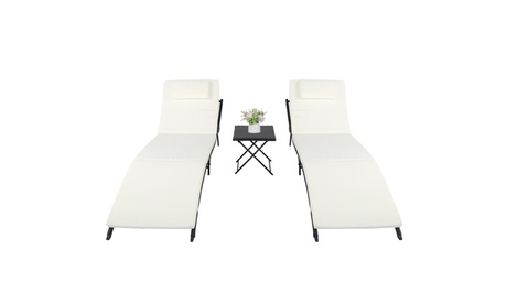 Rattan Patio Chaise Lounge Chairs with Adjustable Back & Cushion