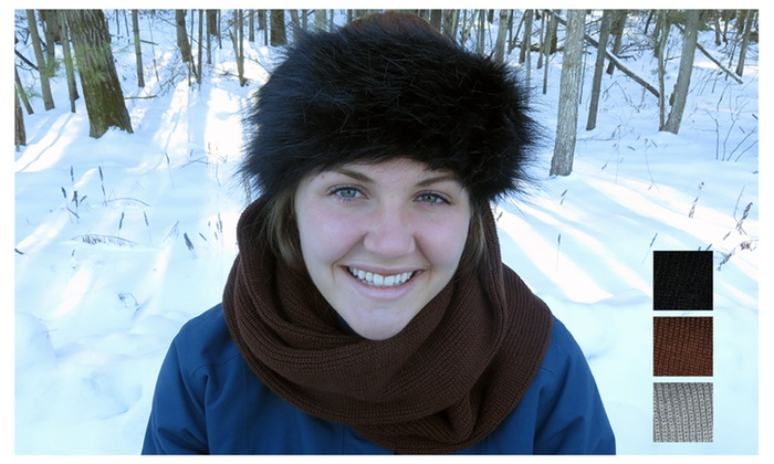 Evelots Faux Fur Trimmed Scarf Winter Hat, Warm, Assorted Colors