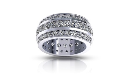 5.00 ct Ladies Three Row Round Cut Diamond Eternity Wedding Band Ring