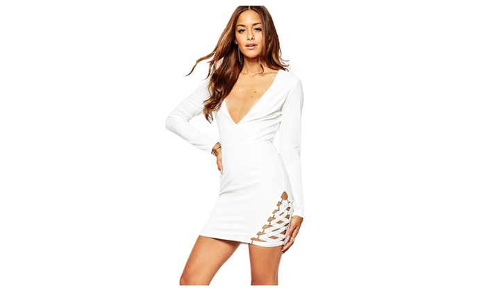 Women's White Crepe Elastic Hem Detail Mini Bodycon Dress - White / one size