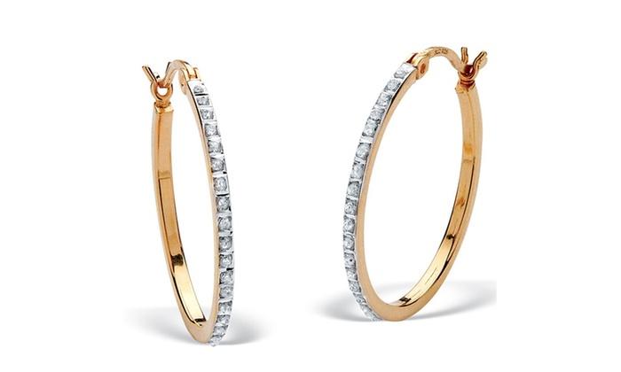 11cb04dd3 Diamond Fascination Hoop Earrings   Groupon