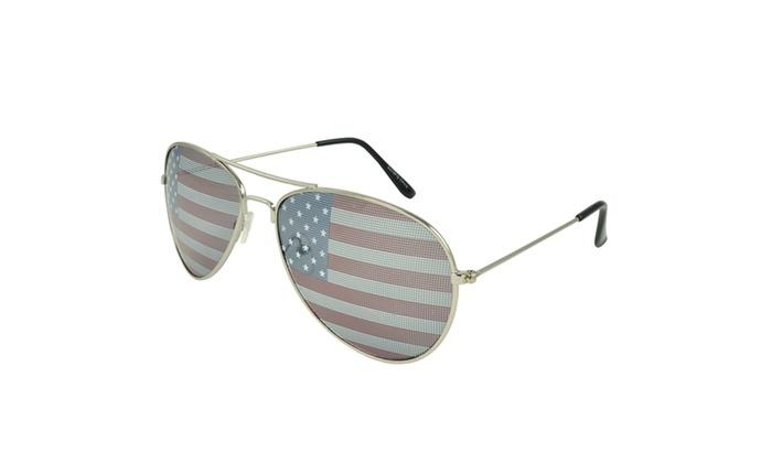 MLC EYEWEAR Patriot Silver Retro Square Sunglasses - SVRUSFLAG