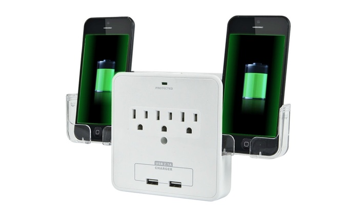 Smart Phone Charging Outlet Multiplier with Usb Ports and Cradles
