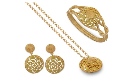 KARMIC Yellow Gold NECKLACE,EARRING & BRACELET SET