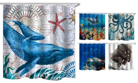 Kids Animal Shower Curtains Waterproof Fabric Bathroom Decor with Hooks