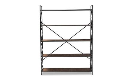 Mirna Black Iron Metal and Natural Oak Wood 5-Shelf Quatrefoil Accent Bookcase