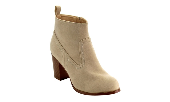 Beston EC49 Women Classic Side Zipper Mid Stacked Chunky Ankle Booties
