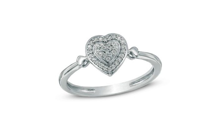 11d4ab08c8ce83 1/10 CT. T.W. Diamond Heart Promise Ring in 10K White Gold Finish ...