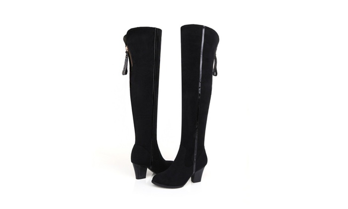 Shefetch Women's Leather Chunky Above Knee Boots