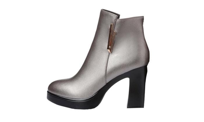 Women's Leather Antislip Zip Martin Boots