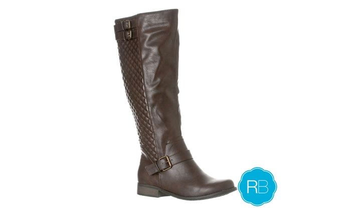 Riverberry Women's 'Olivia' Knee-High Quilted Riding Boot, Dark Brown