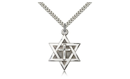 IceCarats Designer Jewelry Sterling Silver Star Of David W/ Cross 1 1/4 X 7/8 Inch Necklace