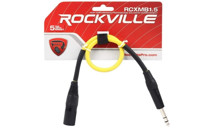 4 Rockville RCXMB1.5B Black 1.5/' Male REAN XLR to 1//4/'/' TRS Balanced Cables
